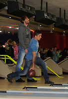Pictured: Michu and Pablo Hernandez. Wednesday 15 November 2012<br /> Re: Swansea City FC players have played bowling at the Tenpin bowling alley at Parc Tawe, Swansea, south Wales.