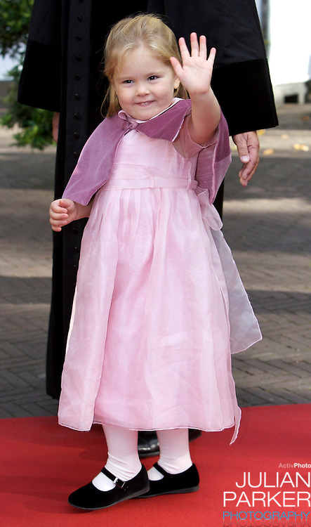 Princess Catherina Amalia of The Netherlands attends her sister, Princess Ariane of The Netherlands christening at The Kloosterkerk in The Hauge, Holland.