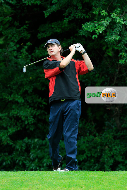 Chris Collins (Milltown) on the 8th tee during round 2 of the Leinster Mid Amateur Open Championship in Grange Golf Club on Friday 8th August 2014.<br /> Picture:  Thos Caffrey / www.golffile.ie