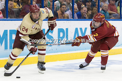 Bill Arnold (BC - 24), Scott Czarnowczan (FSU - 2) - The Boston College Eagles defeated the Ferris State University Bulldogs 4-1 (EN) in the 2012 Frozen Four final to win the national championship on Saturday, April 7, 2012, at the Tampa Bay Times Forum in Tampa, Florida.