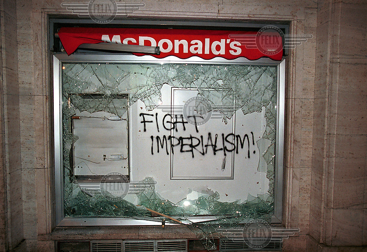 2000.09.25 :  Smashed McDonald's restaurant following Anti Worldbank and IMF protests in the streets of Prague, Check Republic.