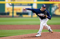 Alec Smith (8) of the Oral Roberts Golden Eagles throws a pitch during a game against the Missouri State Bears on March 27, 2011 at Hammons Field in Springfield, Missouri.  Photo By David Welker/Four Seam Images