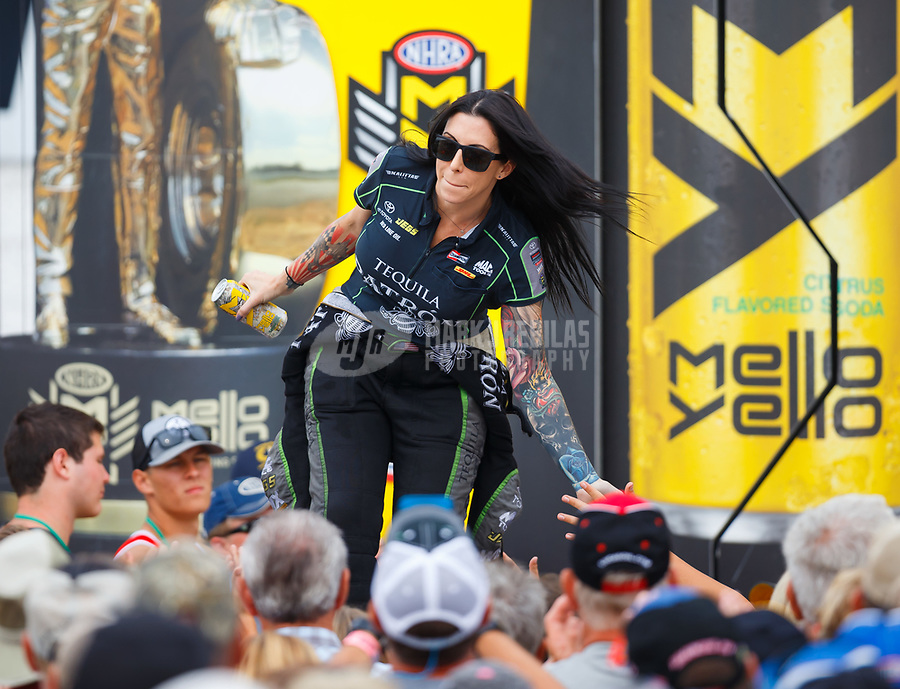 Aug 20, 2017; Brainerd, MN, USA; NHRA funny car driver Alexis DeJoria during the Lucas Oil Nationals at Brainerd International Raceway. Mandatory Credit: Mark J. Rebilas-USA TODAY Sports