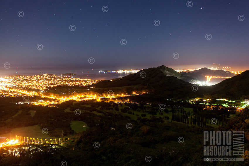 A starry night view of Windward O'ahu from the Pali Lookout.