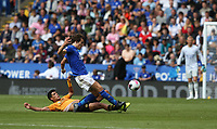 Leicester City's Caglar Soyuncu is tackled by Wolverhampton Wanderers' Raul Jimenez <br /> <br /> Photographer Stephen White/CameraSport<br /> <br /> The Premier League - Leicester City v Wolverhampton Wanderers - Sunday 11th August 2019 - King Power Stadium - Leicester<br /> <br /> World Copyright © 2019 CameraSport. All rights reserved. 43 Linden Ave. Countesthorpe. Leicester. England. LE8 5PG - Tel: +44 (0) 116 277 4147 - admin@camerasport.com - www.camerasport.com