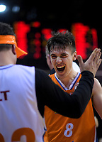 Derone Raukawa (Sharks) celebrates winning the national basketball league final  between Wellington Saints and Southland Sharks at TSB Bank Arena in Wellington, New Zealand on Sunday, 5 August 2018. Photo: Dave Lintott / lintottphoto.co.nz