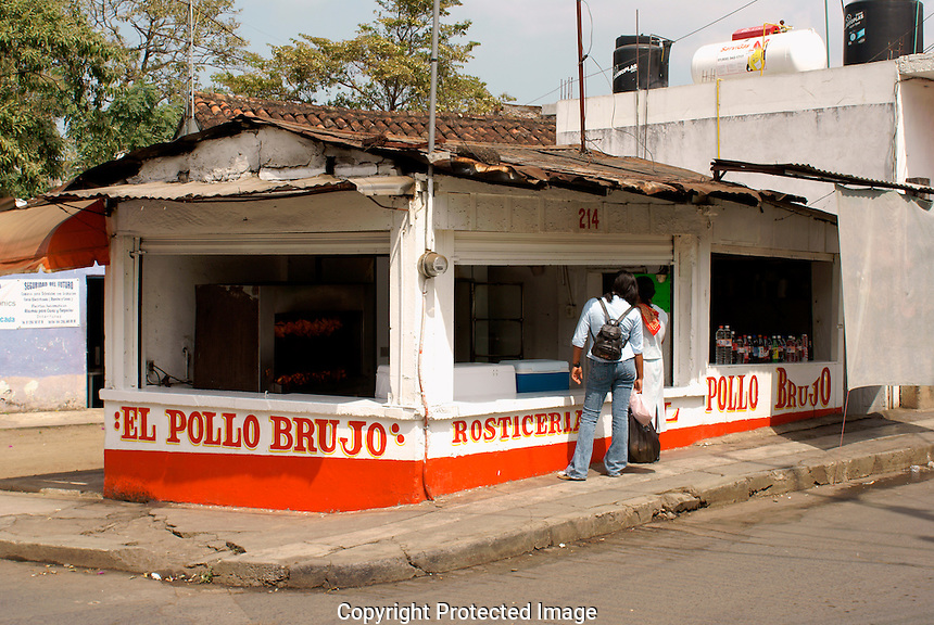 Outdoor chicken rotisserie or pollo roticeria restaurant in San Andres Tuxtla, Veracruz, Mexico
