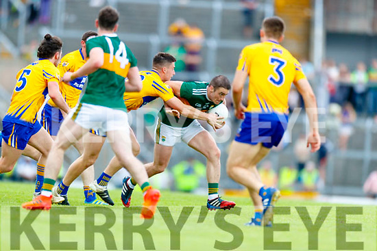 Stephen O'Brien Kerry in action against Aaron Fitzgerald Clare during the Munster GAA Football Senior Championship semi-final match between Kerry and Clare at Fitzgerald Stadium in Killarney on Sunday.