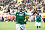 Nederland, Kerkrade, 2 november 2008 .Eredivisie .Seizoen 2008-2009 .Roda JC-Feyenoord (4-0) .Diego Biseswar van Feyenoord juicht nadat hij heeft gescoord, 4-0.