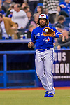 26 March 2018: Toronto Blue Jays third baseman Vladimir Guerrero Jr. warms up prior to the 8th inning of a pre-season exhibition game against the St. Louis Cardinals at Olympic Stadium in Montreal, Quebec, Canada. The Cardinals defeated the Blue Jays 5-3 in the first of two MLB Grapefruit League games, in which Guerrero Jr. made his first appearance since childhood at the former home on the Montreal Expos. Mandatory Credit: Ed Wolfstein Photo *** RAW (NEF) Image File Available ***