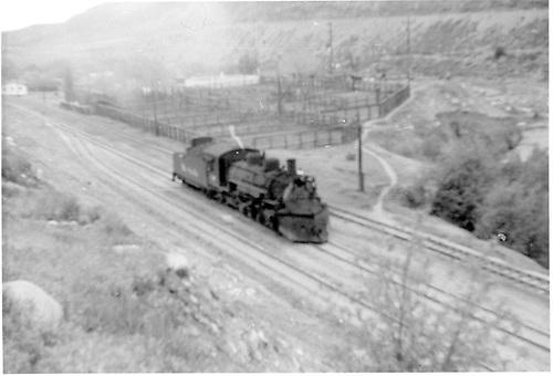 Light K-36 at Durango stock yards northbound.<br /> D&amp;RGW  Durango, CO