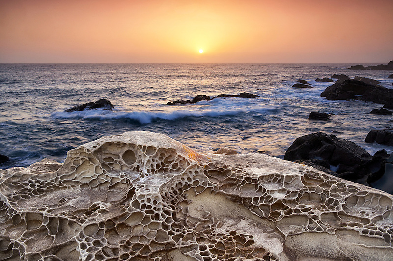 Unique sandstone rock formations and sunset. Salt Point State Park. California
