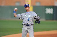 Designated hitter Wander Franco (8) of the Lexington Legends warms up before a game against the Greenville Drive on Tuesday, April 14, 2015, at Fluor Field at the West End in Greenville, South Carolina. Lexington won, 5-3. (Tom Priddy/Four Seam Images)