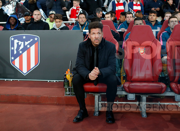 Atletico's Diego Simeone looks on during the Europa League Semi Final 1st Leg, match at the Emirates Stadium, London. Picture date: 26th April 2018. Picture credit should read: David Klein/Sportimage