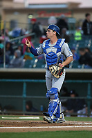 Will Smith (10) of the Rancho Cucamonga Quakes in the field during a game against the Lancaster JetHawks at The Hanger on April 28, 2017 in Lancaster, California. Lancaster defeated Rancho Cucamonga, 16-10. (Larry Goren/Four Seam Images)