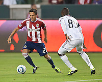 CARSON, CA – July 2, 2011: Chivas USA forward Marcos Mondaini (23) during the match between Chivas USA and Chicago Fire at the Home Depot Center in Carson, California. Final score Chivas USA 1, Chicago Fire 1.