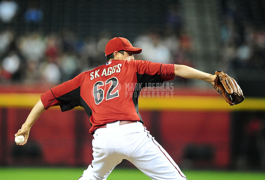 Apr. 3, 2012; Phoenix, AZ, USA; Arizona Diamondbacks pitcher Tyler Skaggs throws in the fifth inning against the Milwaukee Brewers during a spring training game at Chase Field.  Mandatory Credit: Mark J. Rebilas-