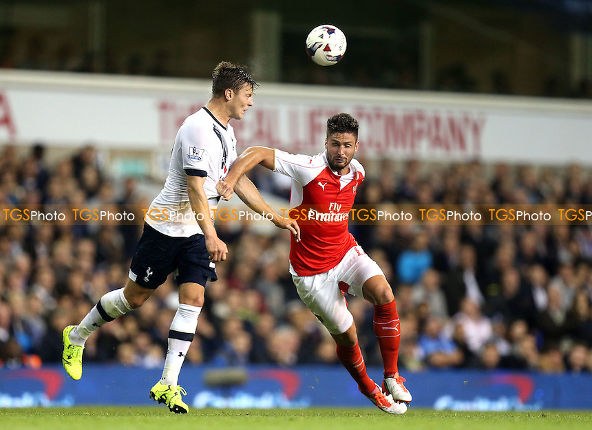 Kevin Wimmer of Tottenham Hotspur and Olivier Giroud of Arsenal during Tottenham Hotspur vs Arsenal at White Hart Lane