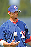 12 March 2008: Washington Nationals' infielder Kory Casto awaits the starts of play prior to a Spring Training game against the Los Angeles Dodgers at Holman Stadium, in Vero Beach, Florida. The Nationals defeated the Dodgers 10-4 at the historic Dodgertown ballpark. 2008 marks the final season of Spring Training at Dodgertown for the Dodgers, as the team will move to new training facilities in Arizona starting in 2009 after 60 years in Florida...Mandatory Photo Credit: Ed Wolfstein Photo