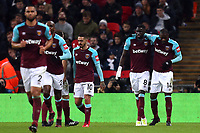 Pedro Obiang of West Ham United is congratulated after scoring the opening goal during Tottenham Hotspur vs West Ham United, Premier League Football at Wembley Stadium on 4th January 2018