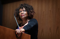 Rita Dove, a former U.S. poet laureate and Pulitzer Prize winner, reads from her one of her works during a Wednesday [March 1] event in McCool Hall's Taylor Auditorium. Dove is on campus this week as MSU's writer-in-residence, hosted by the College of Arts and Sciences' Institute for the Humanities.   <br />