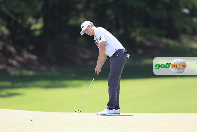 Mackenzie Hughes (CAN) putts on the 12th green during Thursday's Round 1 of the 2017 PGA Championship held at Quail Hollow Golf Club, Charlotte, North Carolina, USA. 10th August 2017.<br /> Picture: Eoin Clarke | Golffile<br /> <br /> <br /> All photos usage must carry mandatory copyright credit (&copy; Golffile | Eoin Clarke)