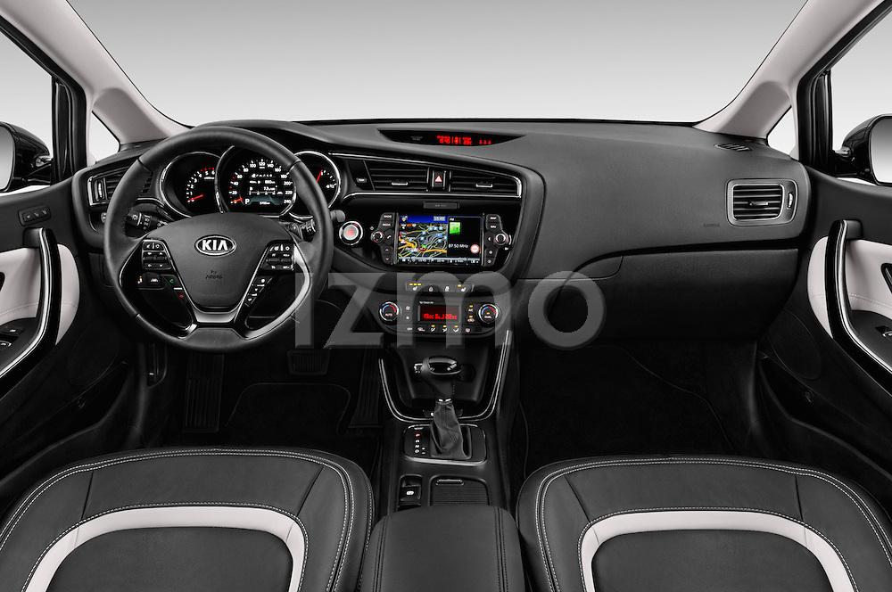 Stock photo of straight dashboard view of 2016 KIA Ceed Sense 5 Door Hatchback Dashboard