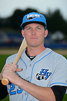 Hudson Valley Renegades outfielder Granden Goetzman (23) poses for a photo before a game against the Batavia Muckdogs on August 8, 2013 at Dwyer Stadium in Batavia, New York.  The game was cancelled in the third inning with Batavia leading 1-0 due to rain storms.  (Mike Janes/Four Seam Images)