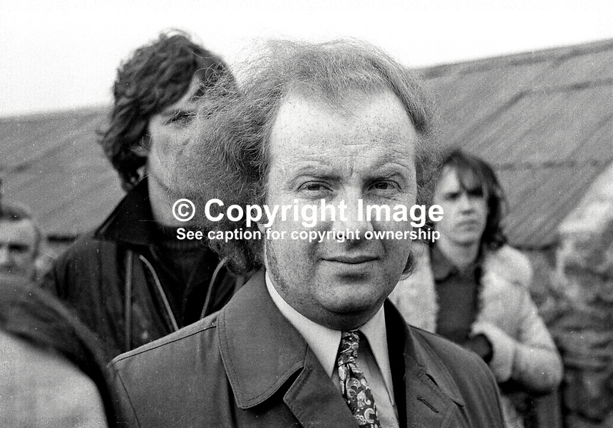Ivan Cooper, independent MP, Stormont Parliament, taking part in a N Ireland Civil Rights march near Magilligan Prison, Co Londonderry, N Ireland, on 11th March 1972. 197203110110IC.<br />
