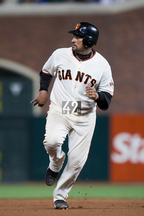 21 April 2009: San Francisco Giants' Beggie Molina runs the bases during the San Francisco Giants' 8-3 win  over the San Diego Padres at AT&T Park in San Francisco, CA.