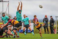 Darryl Veenendaal of Ampthill Rugby kicks during the Greene King IPA Championship match between Ampthill RUFC and Nottingham Rugby on Ampthill Rugby's Championship Debut at Dillingham Park, Woburn St, Ampthill, Bedford MK45 2HX, United Kingdom on 12 October 2019. Photo by David Horn.