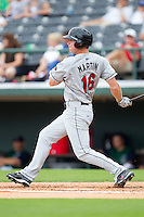 Dustin Martin #16 of the Rochester Red Wings follows through on his swing against the Charlotte Knights at Knights Stadium August 1, 2010, in Fort Mill, South Carolina.  Photo by Brian Westerholt / Four Seam Images