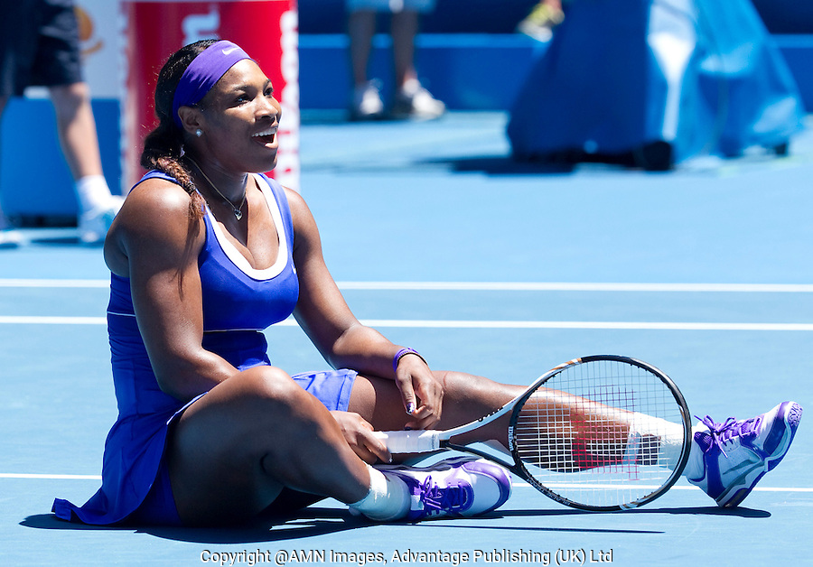 SERENA WILLIAMS (USA) against BARBORA ZAHLAVOVA STRYCOVA (CZE) in the second round of the Women's Singles. Serena Williams beat Barbora Zahlavova Strycova 6-0 6-4..19/01/2012, 19th January 2012, 19.01.2012..The Australian Open, Melbourne Park, Melbourne,Victoria, Australia.@AMN IMAGES, Frey, Advantage Media Network, 30, Cleveland Street, London, W1T 4JD .Tel - +44 208 947 0100..email - mfrey@advantagemedianet.com..www.amnimages.photoshelter.com.