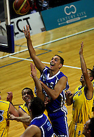 Troy McLean scores for the Saints during the NBL Basketball match between Wellington Saints and Otago Nuggets at TSB Bank Arena, Wellington, New Zealand on Sunday, 30 March 2008. Photo: Dave Lintott / lintottphoto.co.nz