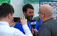 Lincoln City manager Danny Cowley during the pre-match warm-up speaks to the press<br /> <br /> Photographer Andrew Vaughan/CameraSport<br /> <br /> The EFL Sky Bet League Two Play Off First Leg - Lincoln City v Exeter City - Saturday 12th May 2018 - Sincil Bank - Lincoln<br /> <br /> World Copyright &copy; 2018 CameraSport. All rights reserved. 43 Linden Ave. Countesthorpe. Leicester. England. LE8 5PG - Tel: +44 (0) 116 277 4147 - admin@camerasport.com - www.camerasport.com