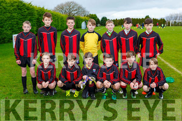 The Mastergeeha team that played Mastergeeha ain the u13 Kerry premier league in  Killarney Celticon Saturday morning front row l-r: Ignatius O'Leary, Cian Murray, Cian Lynch, David O'Leary, Alan O'Leary and Adam Murphy. Back row: Padrac Moynihan, Eoghan Kelly, Keelan O'Shea, Jack Fogarty, James Williams Jack O'Donoghue, Hugh Linehan