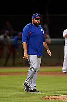 AZL Rangers pitching coach Sean Cashman (48) walks towards the mound during an Arizona League game against the AZL Dodgers Mota at Camelback Ranch on June 18, 2019 in Glendale, Arizona. AZL Dodgers Mota defeated AZL Rangers 13-4. (Zachary Lucy/Four Seam Images)
