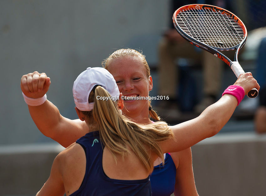 Paris, France, 26 June, 2016, Tennis, Roland Garros, Doubles:  Kiki Bertens (NED) (R) and her partner Johanna Larsson win the first round and celebrate.<br /> Photo: Henk Koster/tennisimages.com