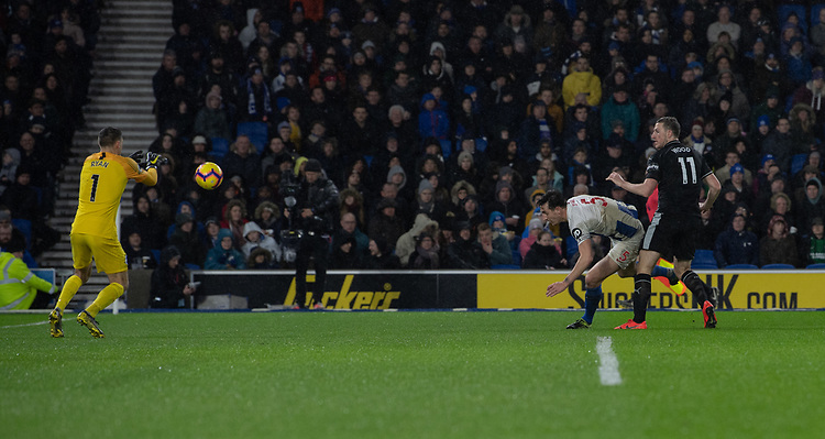 Burnley's Chris Wood (right) battles with Brighton &amp; Hove Albion's Lewis Dunk (left) scores his side's second goal <br /> <br /> Photographer David Horton/CameraSport<br /> <br /> The Premier League - Brighton and Hove Albion v Burnley - Saturday 9th February 2019 - The Amex Stadium - Brighton<br /> <br /> World Copyright &copy; 2019 CameraSport. All rights reserved. 43 Linden Ave. Countesthorpe. Leicester. England. LE8 5PG - Tel: +44 (0) 116 277 4147 - admin@camerasport.com - www.camerasport.com
