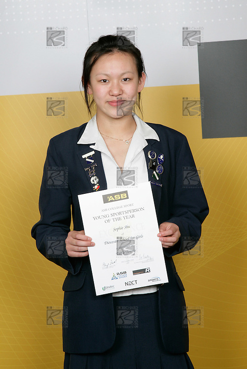 Table Tennis Girls Winner - Sophie Shu. ASB College Sport Young Sportsperson of the Year Awards 2006, held at Eden Park on Thursday 16th of November 2006.<br />