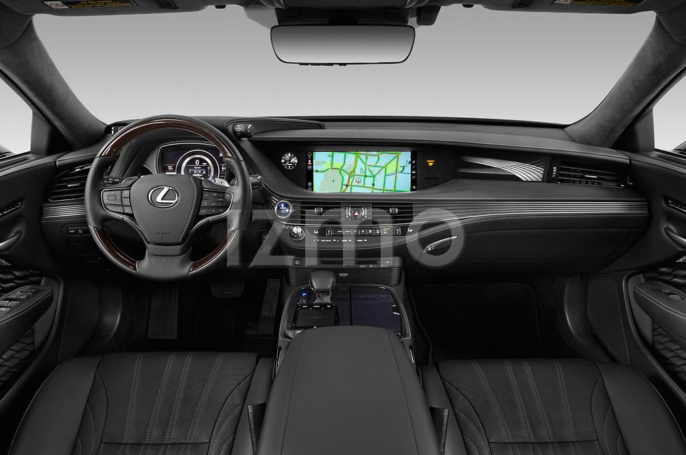 Stock photo of straight dashboard view of a 2018 Lexus LS 500h 4 Door Sedan
