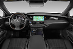 Stock photo of straight dashboard view of a 2018 Lexus LS 500h 4 Door Sedan