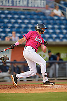 Pensacola Blue Wahoos Trevor Larnach (9) at bat during a Southern League game against the Mobile BayBears on July 25, 2019 at Hank Aaron Stadium in Pensacola, Florida.  Pensacola defeated Mobile 2-1 in the first game of a doubleheader.  (Mike Janes/Four Seam Images)