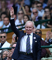 Former Australian tennis player Rod Laver in the Royal box on Centre Court <br /> <br /> Photographer Rob Newell/CameraSport<br /> <br /> Wimbledon Lawn Tennis Championships - Day 6 - Saturday 7th July 2018 -  All England Lawn Tennis and Croquet Club - Wimbledon - London - England<br /> <br /> World Copyright &not;&copy; 2017 CameraSport. All rights reserved. 43 Linden Ave. Countesthorpe. Leicester. England. LE8 5PG - Tel: +44 (0) 116 277 4147 - admin@camerasport.com - www.camerasport.com