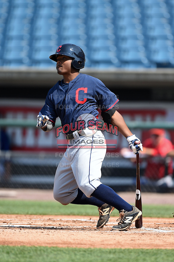 Cobie Vance (22) of Pine Forest High School in Fayetteville, North Carolina playing for the Cleveland Indians scout team during the East Coast Pro Showcase on July 31, 2014 at NBT Bank Stadium in Syracuse, New York.  (Mike Janes/Four Seam Images)