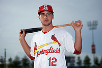 Springfield Cardinals third baseman Paul DeJong (12) poses for a photo before a game against the Northwest Arkansas Naturals on April 26, 2016 at Hammons Field in Springfield, Missouri.  Northwest Arkansas defeated Springfield 5-2.  (Mike Janes/Four Seam Images)