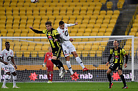 Wellington Phoenix&rsquo; Alex Rufer and Western Sydney Wanderers FC&rsquo;s Oriol Riera in action during the A-League - Wellington Phoenix v Western Sydney Wanderers at Westpac Stadium, Wellington, New Zealand on Saturday 3 November  2018. <br /> Photo by Masanori Udagawa. <br /> www.photowellington.photoshelter.com