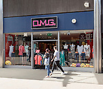 O.M.G shop store in Regent Street, town centre of Swindon, Wiltshire, England, UK