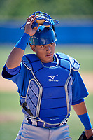 Toronto Blue Jays catcher Gabriel Moreno (11) during a Minor League Spring Training Intrasquad game on March 14, 2018 at Englebert Complex in Dunedin, Florida.  (Mike Janes/Four Seam Images)