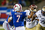 Southern Methodist Mustangs quarterback Shane Buechele (7) in action during the game between the Tulsa Golden Hurricanes and the SMU Mustangs at the Gerald J. Ford Stadium in Fort Worth, Texas.